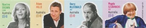 AUS 15/04/2020 Australian Legends (24th Series): Comedy self-ad set of 4 from booklets (exSB697-700)